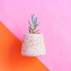 Sprinkle Large planter, L9.5 x W10 x H9cm, multi-colour concrete