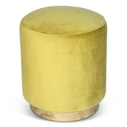 Small footstool, H45 x D40cm, lime green velvet with brass base