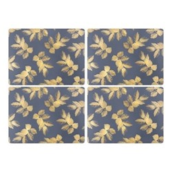 Etched Leaves Set of 4 placemats, 30.5 x 23cm, navy