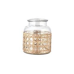 Uma Cane Small vase, Dia19 x 17cm, clear glass & cane