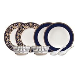 Renaissance Gold 8 piece dinnerware set, white