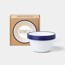Set of 4 enamel bowls, D12cm, white with blue rim