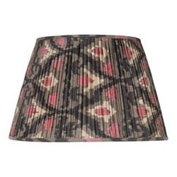 Ikat Silk lampshade, H15 x Dia20cm, Grey/Pink