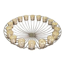 Circular Wire Candle stand with 18 votives, H14 x D62cm, mercury