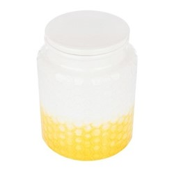 Storage canister, Dia11.5 x H14.5cm, yellow stoneware