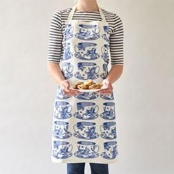 Teacup Apron, 60 x 80cm, white/delft blue