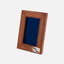 """The Highland Safari Collection - Elephant Small portrait photo frame, 6 x 4"""", Rhodesian teak and silver plated brass"""