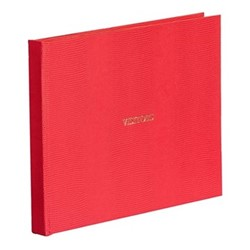 Oyster Bay Large lined visitors book, L22 x W28.5cm, red lizard print
