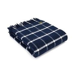 Chequered Check Throw, 150 x 183cm, navy/cream