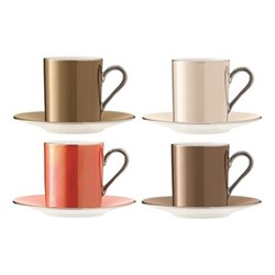 Polka Set of 4 coffee cups and saucers, 100ml, assorted metallics