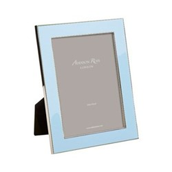 "Enamel Range Photograph frame, 5 x 7"" with 24mm border, ice blue with silver plate"
