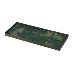 Malachite Organic glass tray - large, 46 x 18 x 3cm, green