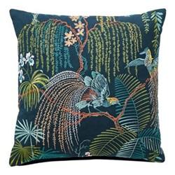 Palm House Cushion, 45 x 45cm, indigo/papaya