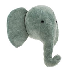 Mini wall mounted elephant head, H27 x W30 x D21cm, mint grey