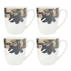Blue Lily Set of 4 mugs, 340ml, 22 carat gold / blue