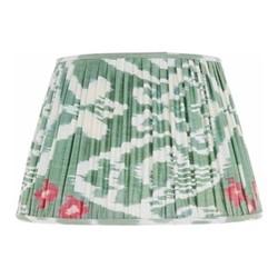 Ikat Silk lampshade, H15 x Dia20cm, Green/Pink