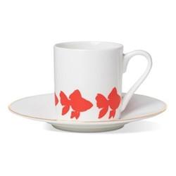 Goldfish Espresso cup and saucer, gold rim