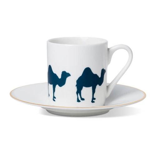 Camel Espresso cup and saucer, gold rim
