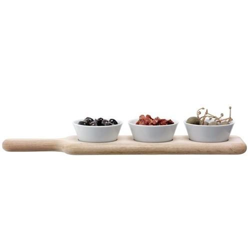 Paddle Bowl & paddle set, L40cm, white/oak