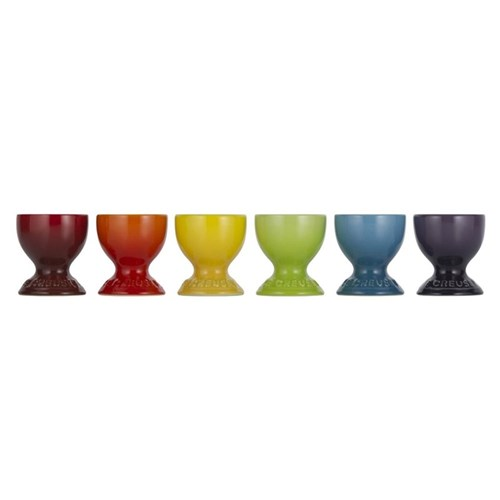 Stoneware Set of 6 egg cups, rainbow
