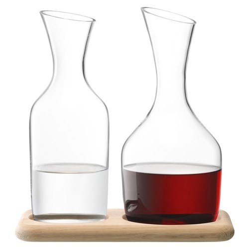 Wine Carafe set, 1.2 litre, clear glass with oak base