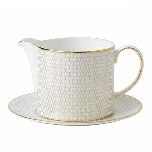 Arris Sauce jug and stand, 50cl, white with gold band
