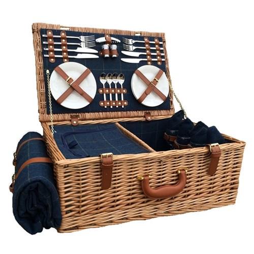Blue Tweed Picnic hamper - 4 person, 58 x 38 x 22cm, light willow