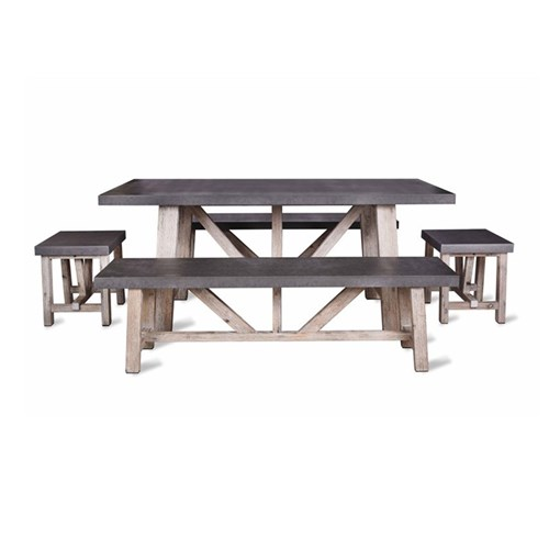 Chilson Table and bench set - small, acacia & cement