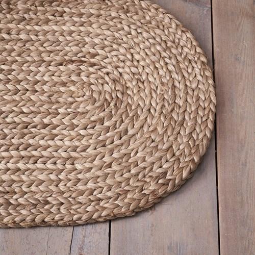 Braided oval doormat, 77 x 46cm, natural jute