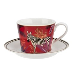 Tahiti - Zebra Teacup & saucer, red