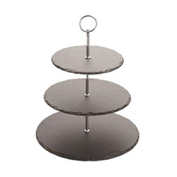 3 tier serving stand, 28.5 x 34.5cm, slate
