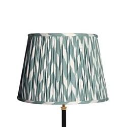 Straight Empire Ikat printed lampshade, 40cm, eau-de-nil zig-zag linen