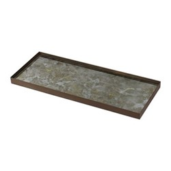 Gold leaf Large glass tray, H3 x W46 x D18cm