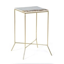 Rae Side table, H62 x W35 x D35cm, brass and agate