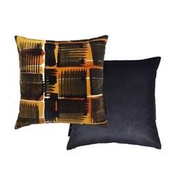 Abstract Check Cushion, L45 x W45cm, ochre/black