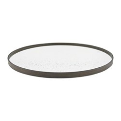 Large round aged mirror, D61cm, clear