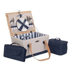 Nautical Picnic hamper - 2 person, H26 x W30 x L40cm, cream & blue