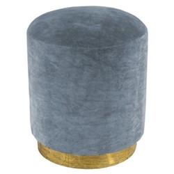 Small footstool, H45 x D40cm, sky blue velvet with brass base