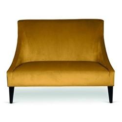 Marit 2 seater sofa with stud detail, H95 x L130 x D83cm, mustard velvet