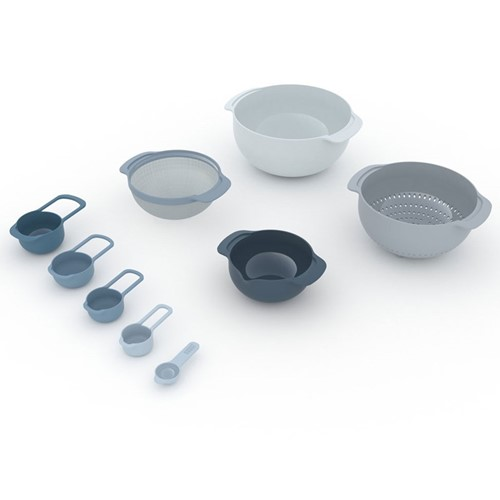 Editions 9 piece nest plus stacking bowl and measuring set, Sky blue