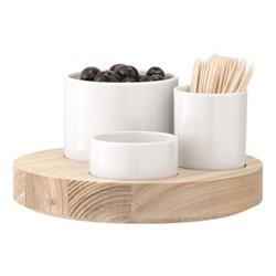 Lotta Olive set, 18cm, white with ash base