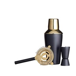Barcraft Three piece cocktail set, black/brass