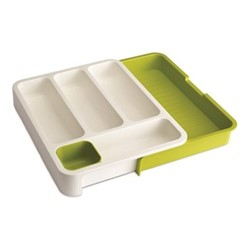 DrawerStore Cutlery tray, 40 x 38.5 x 5cm, white & green