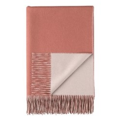 Plain Reversible Cashmere throw, 190 x 140cm, dark coral / rose taupe