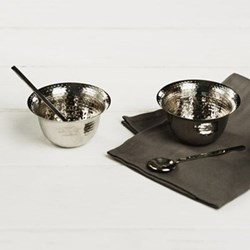 Pair of condiment pots with spoons, 8.5 x 5cm, stainless steel