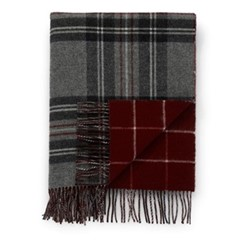 Checked Lambswool throw, 190 x 140cm, grey check/red windowpane