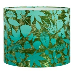 Falling Leaves Drum lampshade, W31 x H24cm, moss/jade ombre