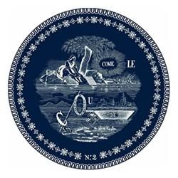 Les Dépareillées Bleu Rebus Coaster, Dia13cm, white/blue
