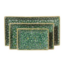 Lawn Nest of 3 rectangular serving dishes, Largest - L31.5 x W17cm, green