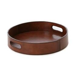Round drinks tray, Dia30 x H5cm, tan leather